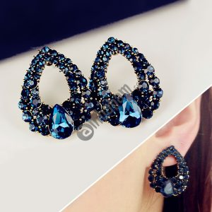 Fashion Women Waterdrop Shape Sapphire Diamond Earring