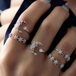 5 PCS/Set Vintage Women Star Moon Adjustable Ring Set