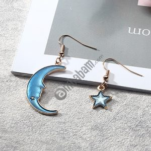Fashion Romantic Blue Star Moon Long Asymmetric Earrings for Women