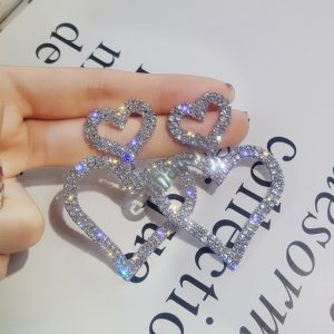 925 Silver Fashion Exaggerated Diamond Double Heart Long Earring For Women