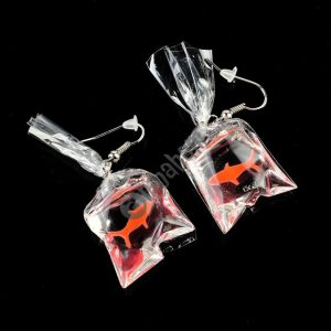 Girl Fresh Goldfish Transparent Water Bag Resin EarringsGirl Fresh Goldfish Transparent Water Bag Resin Earrings