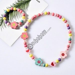 2 PCS/Set Lovely Cartoon Wood Jewelry Beads Necklace Baby Kids Princess Animals Necklace