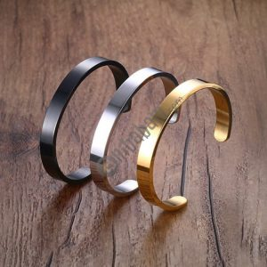 8mm Width Women Men Stainless Steel Surface Bracelet Bangle