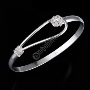 Fashion Romantic Silver Plated Rose Cherry Flower Carve Chain Cuff Bangle Bracelet For Women