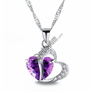 Heart Shaped Zircon Crystal Necklace Sweater Clavicle Chain