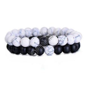 2 PCS/Set Couples Distance Bracelet Classic Natural Stone Beaded Bracelets