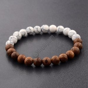 8mm Natural Wood Beads Bracelets Black Ethinc Meditation White Bracelet