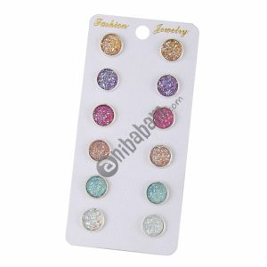 6 Pairs Colorful Round Earrings Combination