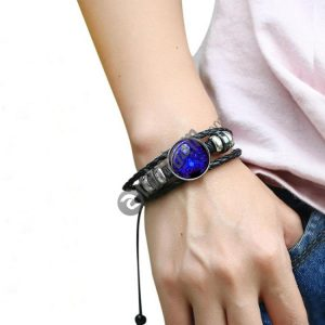 12 Constellation Black Braided Leather Glass Dome Punk Men Bracelet