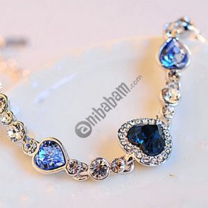 Crystal Rhinestone Heart Simple Bangle Bracelet