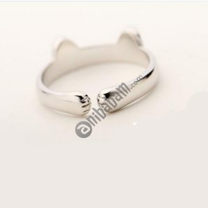 5 PCS Silver Plated Cat Ear Design Cute Fashion Jewelry Ring For Women